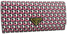 $690 PRADA Black Pink White SAFFIANO PRINT Leather Clutch Wallet LIMITED EDITION