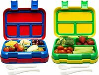 2 PK Bizz Travel Bento Box Set Lunch Boxes with Utensils Removable Microwaveable
