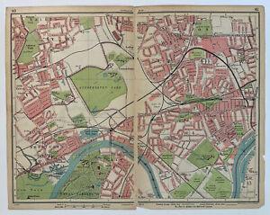 LONDON - CHISWICK EALING KEW BRENTFORD -1925 BARTHOLOMEW'S MAP 28x22cm