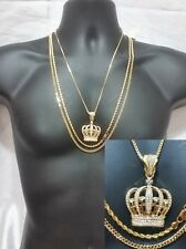 Rope Link Cuban Box Chain 3 Pc Necklace Pendant Gold Hip Hop Iced Out Crown King