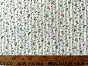 Vintage Cotton Quilt Fabric Roses Floral Stripes Kesslers Concord by 1/2Yard