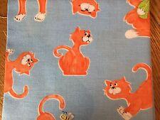 World Of Susybee Purrl Play Blue Cat 100%cotton fat quarter Nursery Fabric