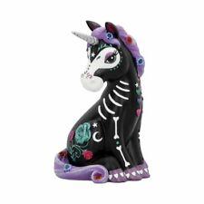 Sugarcorn Black Unicorn Figurine 22cm Tall ~ Day of the Dead Skeleton Ornament