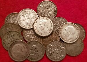 1911-1944 SILVER THREEPENCE ALL CLEAR DATES CHOOSE YOUR YEAR