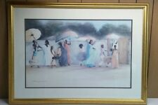 "Gorgeous HUGE GOLD Framed AFRICAN AMERICAN ART ""FoLLoWinG The PaTH"" Earl Jackson"