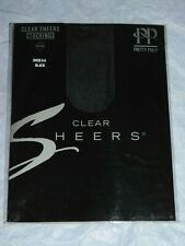 PRETTY POLLY CLEAR SHEERS SUPERFINE BLACK STOCKINGS - SIZE LARGE - VINTAGE! BN
