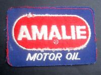 """AMALIE MOTOR OIL EMBROIDERED SEW ON PATCH LUBRICANTS COMPANY 4"""" x 2 1/2"""""""
