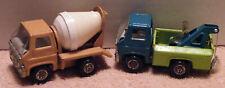 2 Nice Marx Trucks Cement Truck & Tow Truck Pressed Steel Nice Vintage Tucks