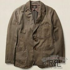 $590 RRL Ralph Lauren Charcoal Grey Cotton Jaspe Sport Coat Jacket-MEN- M