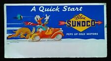 Vintage Blue Sunoco Motor Oil Ad Blotter Walt Disney Bull Pushes Donald Duck Car
