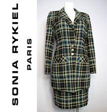 Vente SONIA RYKIEL bouclette laine mélangée Veste Jupe Costume Monogram Bouton UK 12