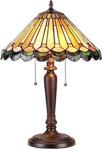 Tiffany Mission Style Table Lamp 2 Light Dark Bronze Finish Brown Stained Glass