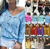 Womens Sweater Blouse Elastic Jumper Sexy Knitted Long Sleeve Loose Oversized