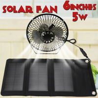 5W 6'' Foldable Solar Powered Panel Fan USB Charger Outdoor Cooling Home  q@^