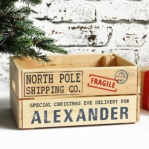 Personalised Christmas Eve Box, Wooden Xmas Shipping Crate, Special Delivery For