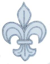 patch Ecusson Brodé thermocollant fleur de lys blanc royaliste  louis xvi