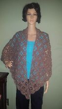 Crochet Handmade Women's Shawl Wrap in Light Brown Sparkle Red Heart Soft Yarn