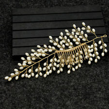 Bride Hair Comb Leaf Pearl Wedding Headwear Bridal Hairpins Women Prom Jewelry