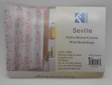Seville Floral Fabric Shower Curtain and Pearl Metal Curtain Rins/Hooks Set