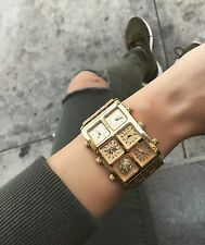 IceLink Generation 6TZ 6 Time Zone Watch Womens Gold Ice Link Authentic