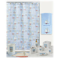 Shower Curtain Creative Bath SAILING BLUE RED WHITE SAILBOAT COTTON 72 by 72 NEW