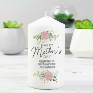 Personalised Abstract Rose Design Candle Gift Home Mothers Day Mum Mummy Nan