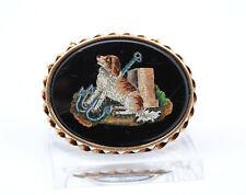 Antike Mikromosaik Brosche Hund Spaniel 585 Gold Micromosaic Brooch Millefiori