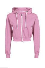 Womens PLAIN CROP HOODIE Zipper Sweatshirt ZIP Cosy Hoody Dance Ladies Girls New