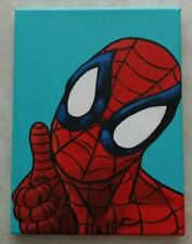 """True Oil Painting on Canvas Spiderman 12"""" x 9"""" Original Modern Art One of a Kind"""