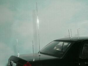 Seven 1/18 Scale Police Vehicle Model Radio Antennas 7 Short & Tall Metal Masts