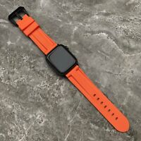 For Apple watch Series 5 44mm Heavy Duty Orange Rubber Silicone watch Strap Band