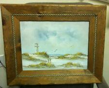 Lighthouse Beach on Canvas framed Painting by C. Melton