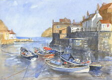 Staithes Harbour - Hand Signed, Titled and Mounted Print with COA