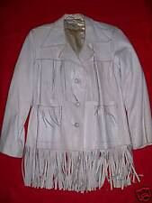 Vintage 40's Pioneer Wear white fringe leather jacket
