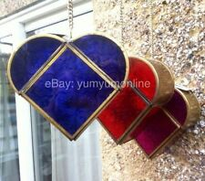 PURPLE LARGE HANGING GLASS METAL MOROCCAN INDIAN HEART TEALIGHT HOLDER DIWALI