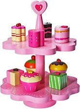 Kids Tea Set Pretend Play Kitchen Food Cake Stand Wooden Toy Toddler Girl New