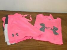 Under Armour Girl's Youth Medium Big Logo Pink Shirt and Shorts Loose Fit