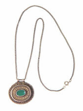 Etruscan Filigree Silver Pendant w/ Green Chrysoprase Gemstone Vintage Necklace