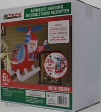Christmas Airflowz 6 ft Tall Animated Hanging Santa Helicopter Inflatable NIB