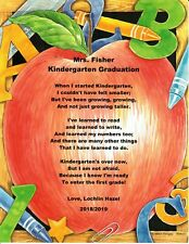 Kindergarten Graduation Poem Personalized Print Name~ First Day in Kindergarten