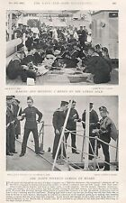 1896 MILITARY PRINT : ACTIVITIES ON BOARD SHIP, MENDING CLOTHES, POSTMAN