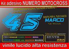 kit 2 adesivi NOME E  NUMERO MOTOCROSS GARA cupolino corsa, casco, moto, auto