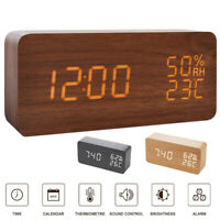 Wooden LED Temperature Humidity Alarm Clocks Voice Control Date Digital Clock