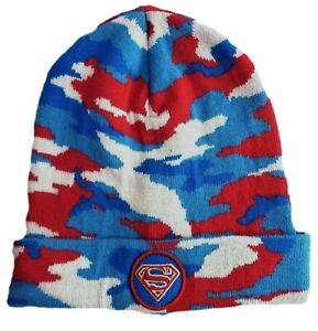 Baby GAP Boys Beanie Hat Superman Super Hero Knitted Red Winter Camo DC Comics