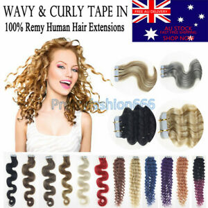 """18"""" 6A Tape In Curly & Wavy 100% Remy Human Hair Extensions Thick Skin Weft AUS"""