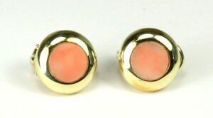18K Yellow Gold Coral Button Circle Round Earrings
