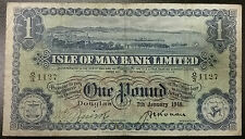 1948 ISLE OF MAN Bank Limited £1 One Pound Currency P-6b +SCARCE DATE+ 7/1/1948