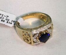 .80 CTW Genuine Iolite & .11 CTW Diamond 10 KT Yellow Gold Ring Size 7 NEW