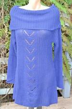 Crossroads Long Tunic Top Size L-16/18 NEW RRP$49.95 Blue  L/Sleeve Bardot Rib