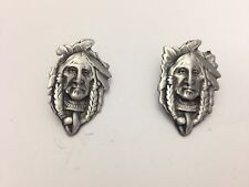 Indian Head English Pewter pin badge Handmade In Sheffield by sb refH9